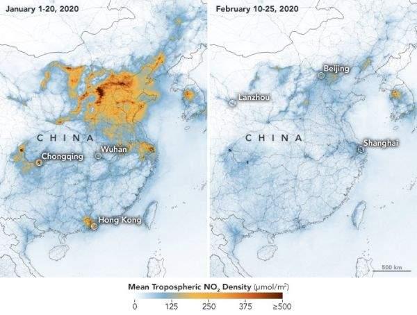 農曆新年冠狀病毒爆發後,經濟放緩排放量明顯減少